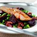 Salmon fillet with salad of garlic & rosemary marinated beetroot
