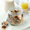 Homemade granola with mango compote