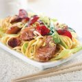 Sticky plum and duck stir fry
