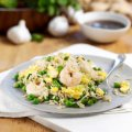 Speedy egg fried rice with prawns