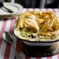 Chicken, leek, prune & caerphilly pie