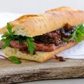 Steak baguette with caramelised red onion relish