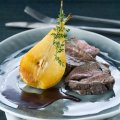 Roast haunch of venison with thyme roast pears & banyuls