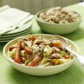 Turkey fricassee with tarragon carrots