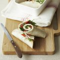 Goat's cheese, roasted red pepper, mint & rocket wraps