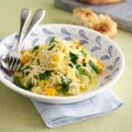 Pumpkin & spinach risotto with Gouda
