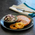 Gammon steaks with winter coleslaw