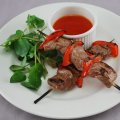 Sirloin & pepper skewers
