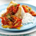 Pan-fried cobia with tomato & pepper vinaigrette