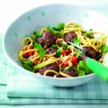 Tangy meatballs with noodles