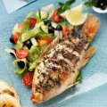 Mint baked tilapia with Greek salad