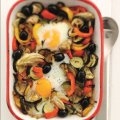 Baked eggs with roasted Mediterranean vegetables