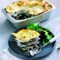 Lasagne with mushrooms & French goat's cheese log