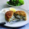 Haddock and smoked salmon fish cake with goat's cheese