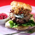 Venison burger with blue cheese & crispy shallots