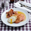 Beetroot pancakes with eggs & smoked bacon