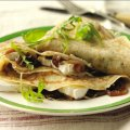 Thyme pancakes with caramelised onion chutney & goat's cheese