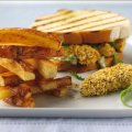 Noughties posh fish finger sandwich with Jenga chips