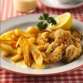 Sixties scampi & chips with homemade salad cream