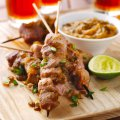 Pork satay skewers with green chilli jam
