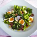 James Ramsden's warm salad of broccoli with quail eggs & bacon