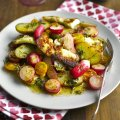 A warm radish, halloumi, potato & tomato salad