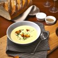 Creamy Fenland celery soup with Stilton cheese