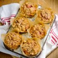 Spiced beetroot & apple muffins with crunchy hazelnut topping