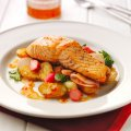 Roast salmon with charlotte potatoes, sweet chilli & pickled cucumber