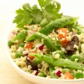 Runner bean & pea couscous salad