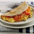 Oat pancakes with smoked salmon & eggs