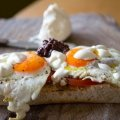 Fried eggs with kalamata olive tapenade