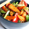 Stir-fried Chantenay carrots with noodles