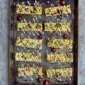 Cherry energy bars with white chocolate drizzle