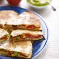 Pink Lady apple & chicken quesadillas with sour cream & guacamole