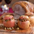 Savoury baked Pink Lady apples with Sunday roast pork shoulder