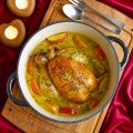 Pot-roast chicken with cider & Pink Lady apples