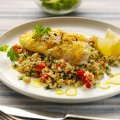Baked lemon cod with quinoa tabbouleh