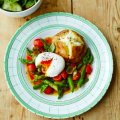 Alex Mackay's potatoes with asparagus, poached egg & tomato dressing