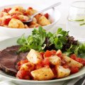 Roast beef with salsa patatas bravas