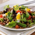 Warm pancetta, egg & lentil salad