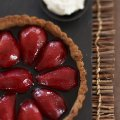 Red wine pear tart