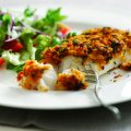 Roasted red pepper pesto topped cod