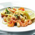 Spaghetti with Caribbean prawns, tomato & chilli