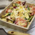Courgette, tarragon, tomato & reduced fat cheese gratin