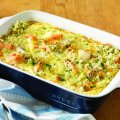 Creamy seafood & spinach bake