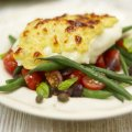 Roast cod with low-fat cheese rarebit & green bean salad