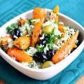 Roasted chantenay carrot, coriander, olive & rice salad