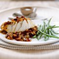 Grilled halibut with sun-dried tomato & aubergine salsa