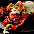 Roasted peppers with chilli filling
